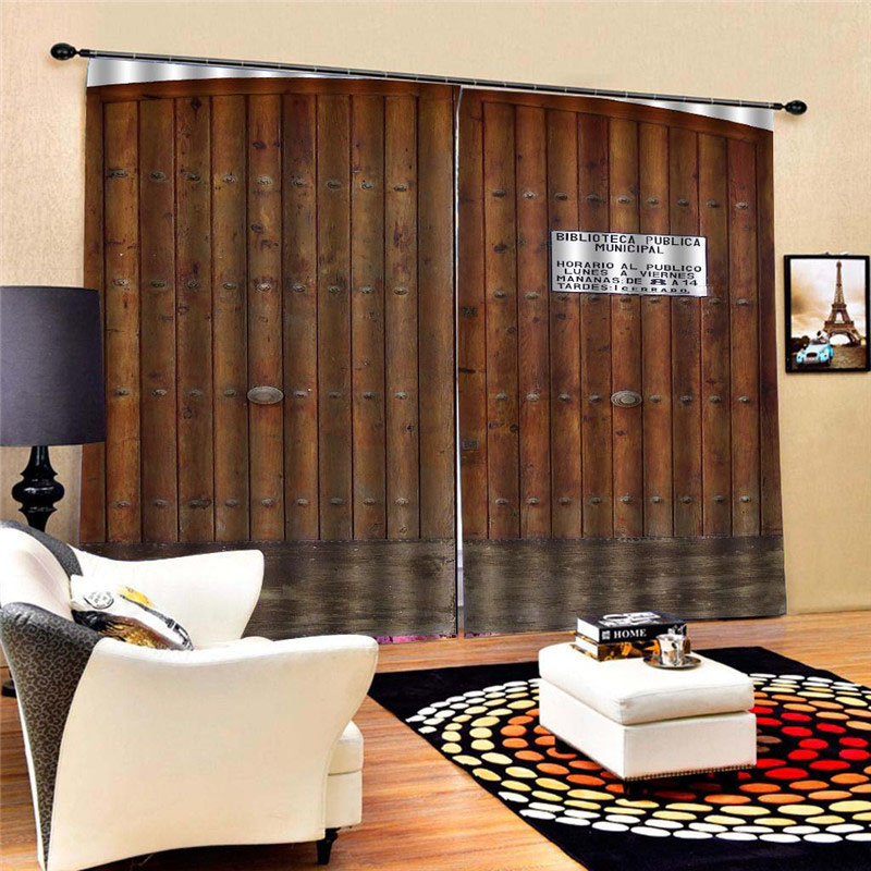 3D Old Wooden Barn Door Printed Blackout Decoration 2 Panels Curtain Drapes for Living Room No Pilling No Fading No off-lining