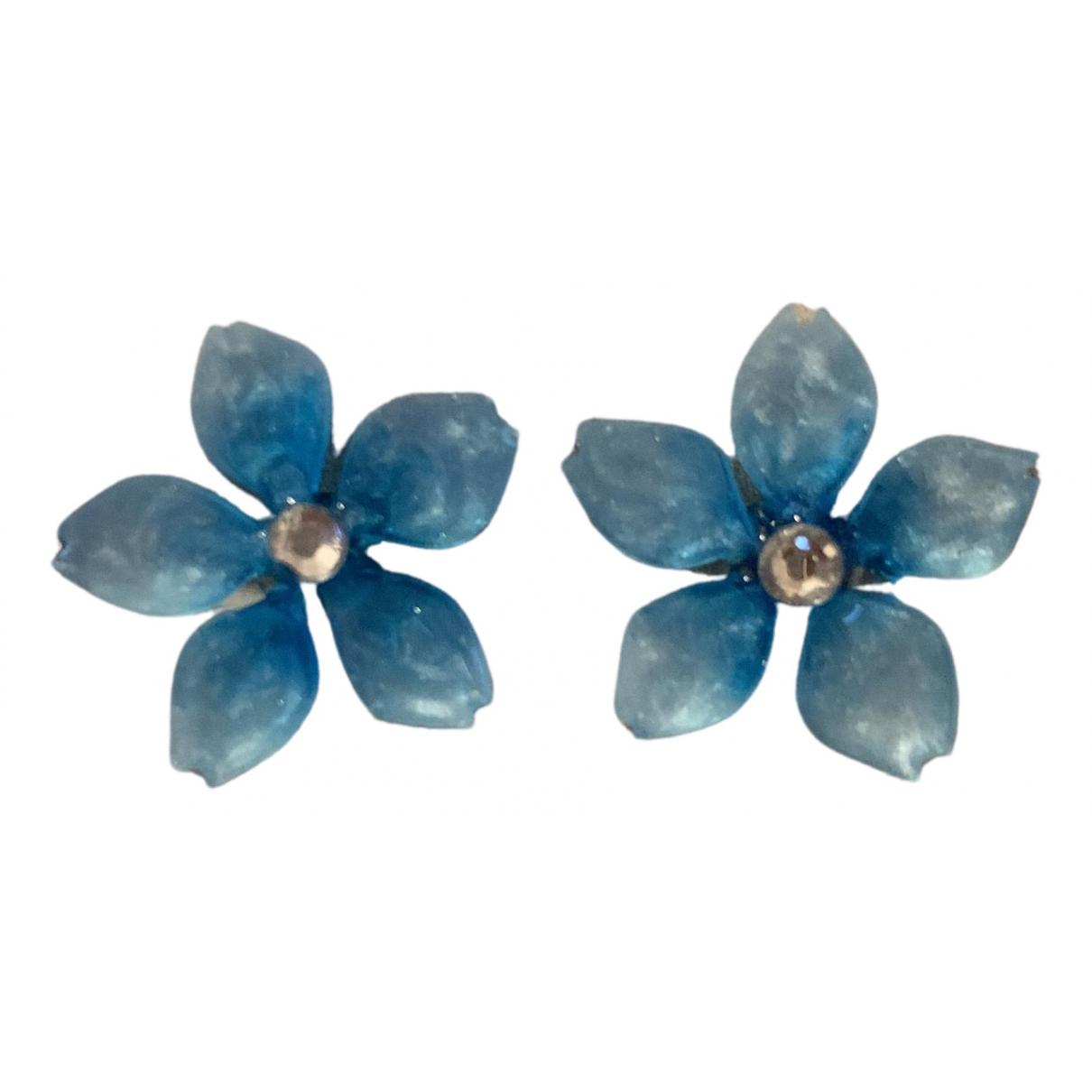 - Boucles doreilles Motifs Floraux pour femme - bleu