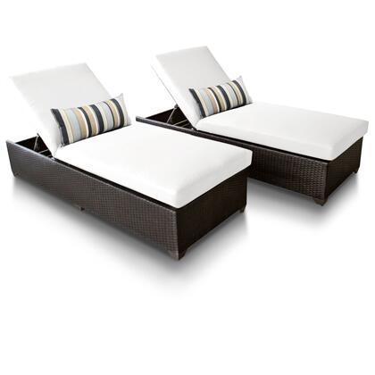 Barbados BARBADOS-2x-WHITE 2-Piece Outdoor Wicker Patio Chaise Set - Wheat and Sail White