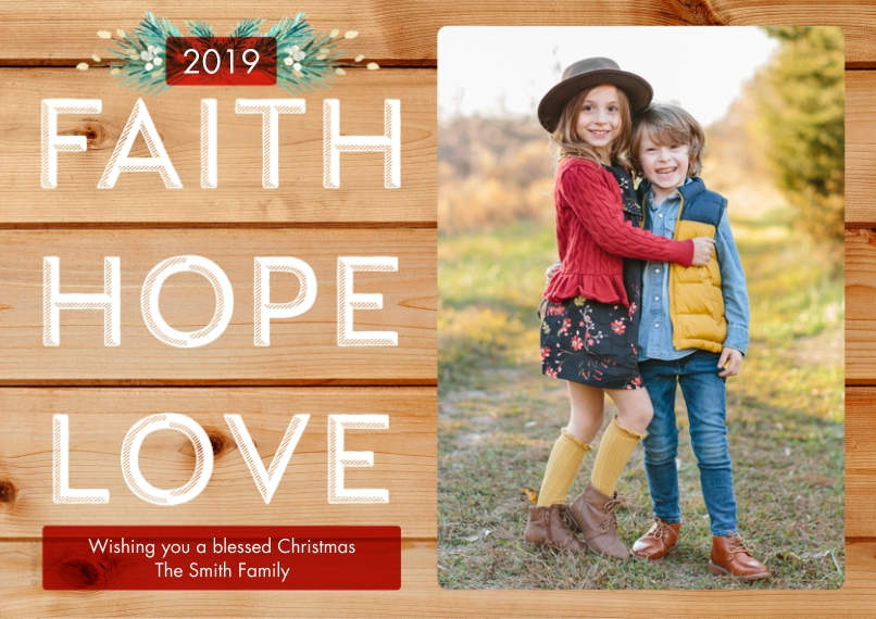 Christmas Photo Cards 5x7 Cards, Premium Cardstock 120lb with Scalloped Corners, Card & Stationery -Rustic Faith Hope Love by Hallmark