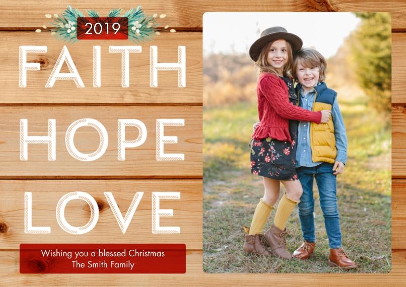 Christmas Photo Cards 5x7 Cards, Standard Cardstock 85lb, Card & Stationery -Rustic Faith Hope Love by Hallmark