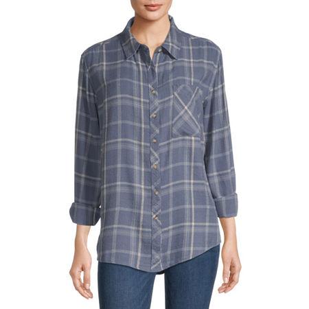 Arizona-Juniors Womens Long Sleeve Flannel Shirt, Medium , Blue