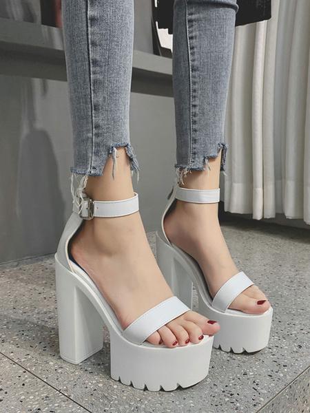 Milanoo Women\'s Sexy Sandals Ankle Strap PU Black Platform Ankle Straps Sandals