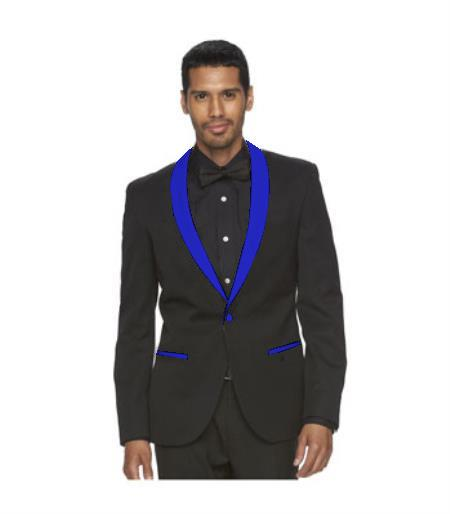 Mens Black Suit One Button Blue Shawl Lapel
