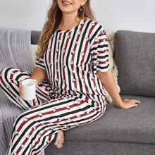 Pijamas de Talla Grande A rayas Dulce