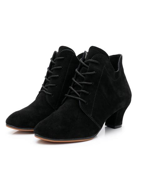 Milanoo Botas de baile para mujer Zapatos de baile negros con punta redonda y cordones