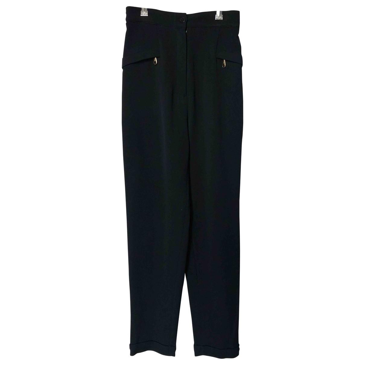 Celine \N Black Wool Trousers for Women 38 FR