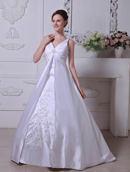 Milanoo White Wedding Dresses V Neck Satin Bridal Gown A Line Lace Embroidered Beading Pleated Chapel Train Wedding Gown