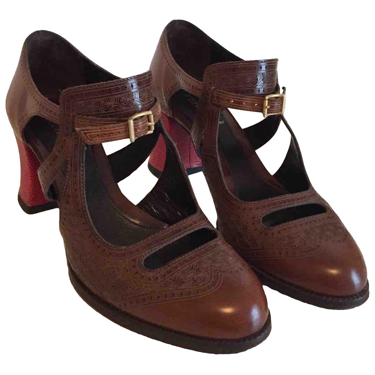 Fendi - Escarpins   pour femme en cuir - marron