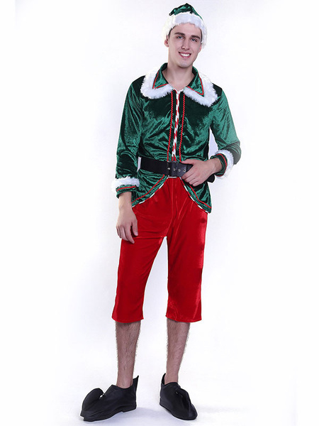 Milanoo Disfraz Halloween Hombres, traje de elfo de navidad, adultos, pantalones superiores, conjunto de 5 piezas Halloween Carnaval Halloween