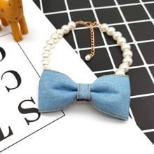 1pc Bow Decor Cat Beaded Collar
