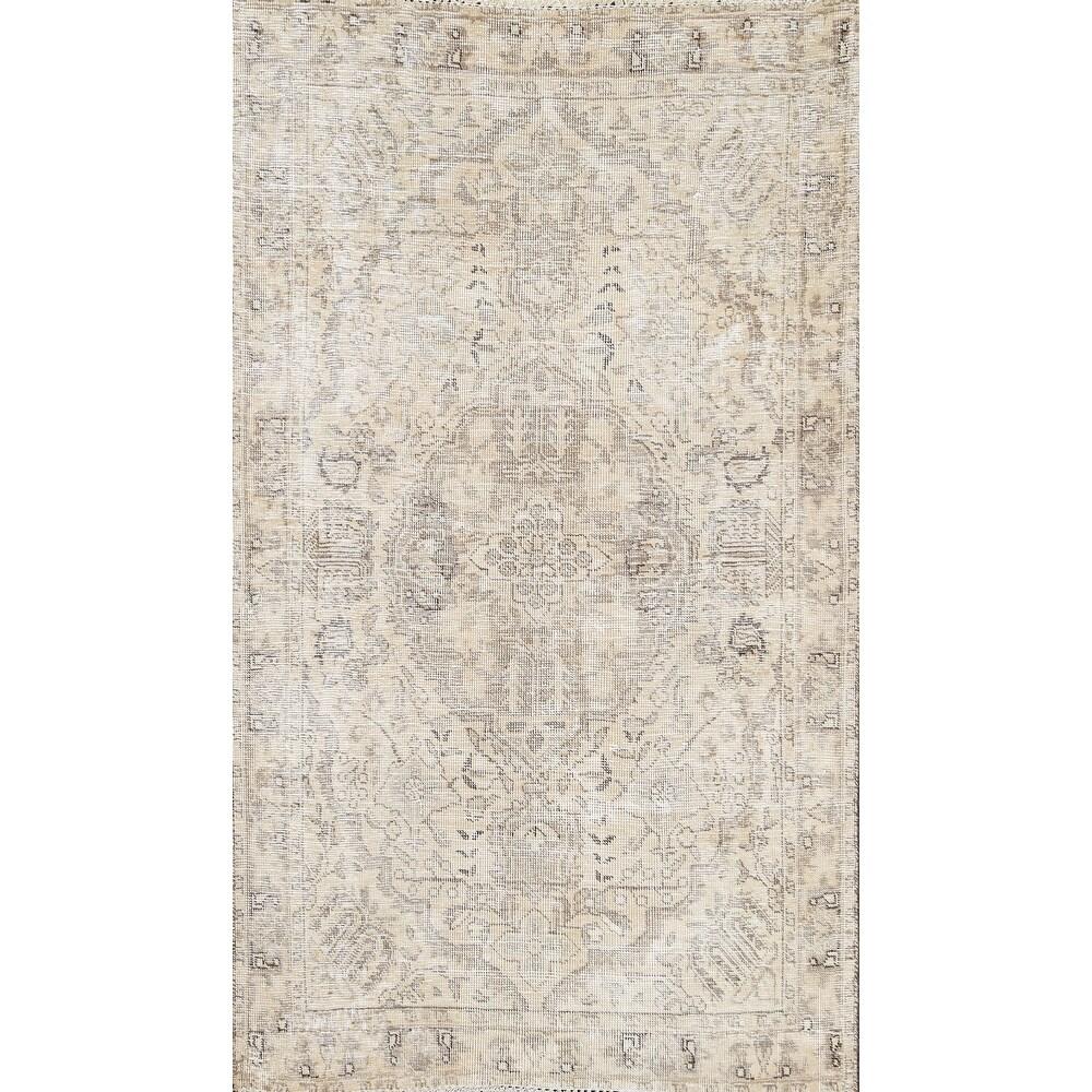 Distressed Geometric Tabriz Persian Area Rug Wool Handmade Carpet - 3'3