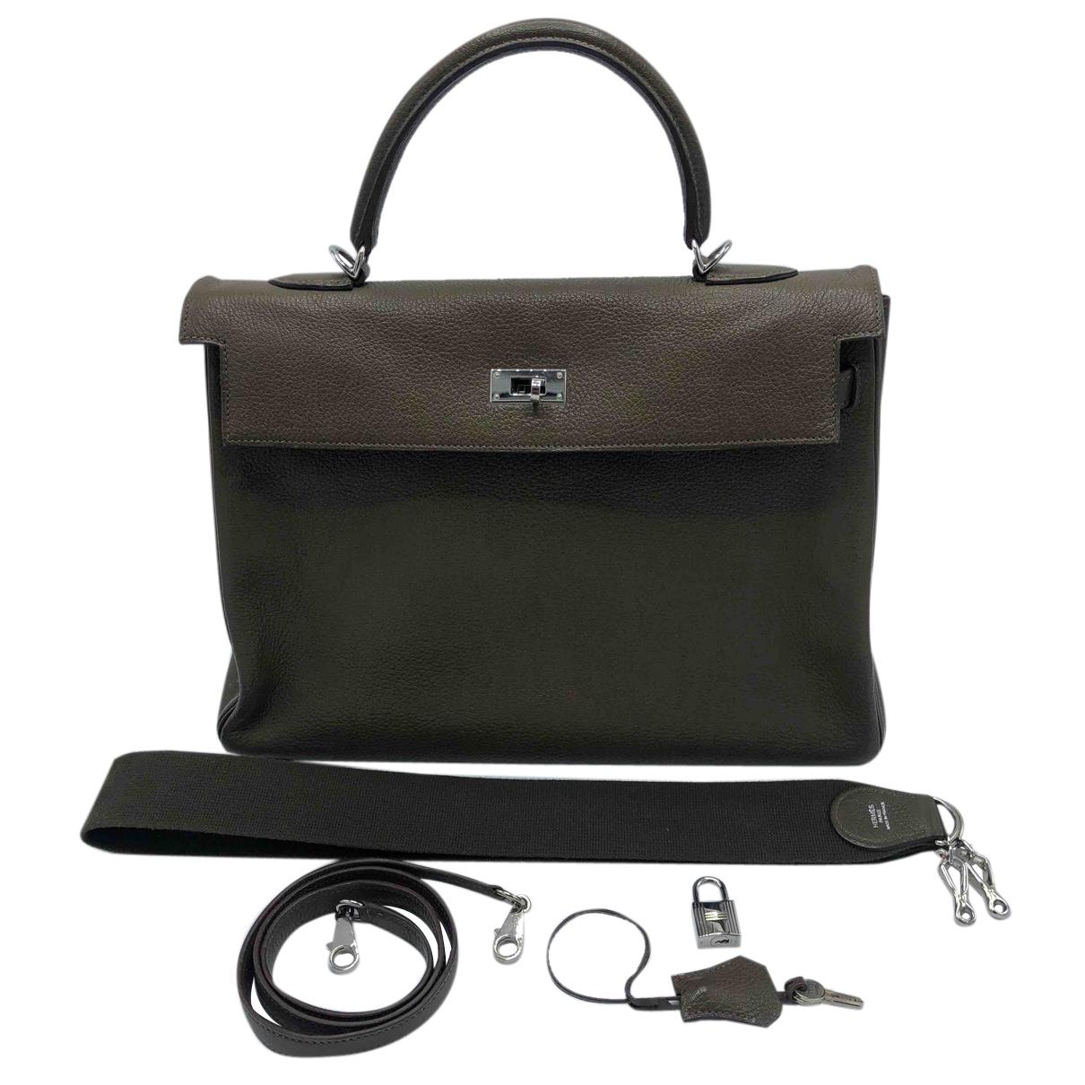 Hermès Kelly 35 Green Leather handbag for Women N