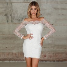Double Crazy Bardot Lace Overlay Bodycon Dress