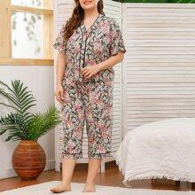 Schlafanzug Set mit Blumen Muster und Kontrast Absteppen