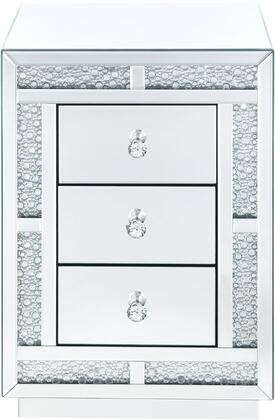 Mallika Collection 97653 Night Table  3 Drawers  Mirrored Case Frame  in Mirrored and Faux Crystals