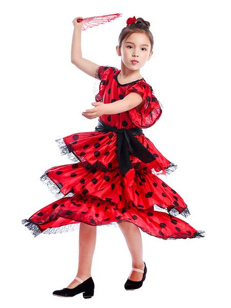 Milanoo Kids Dance Costumes Polka Flamenco Dress Paso Doble Costumes Spanish Skirt for Girls Halloween