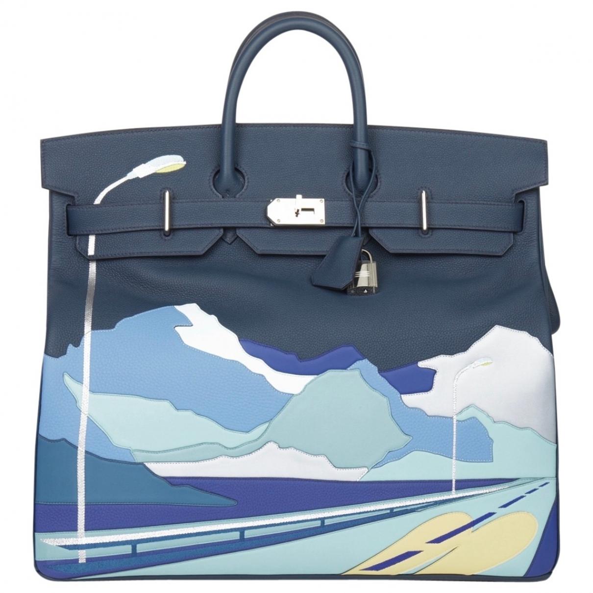 Hermes Haut a Courroies Taschen in  Blau Leder
