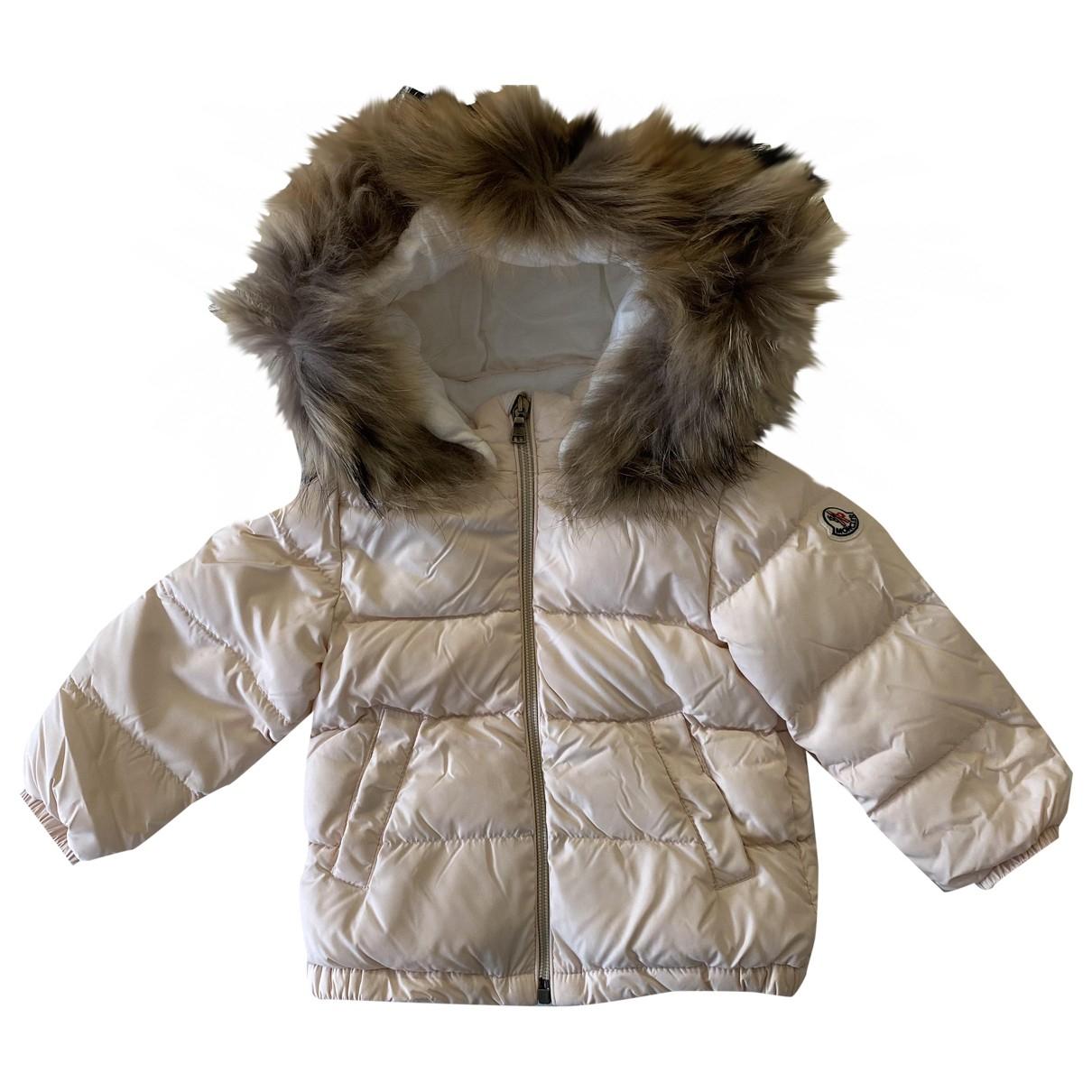 Moncler Fur Hood Jacke, Maentel in  Rosa Synthetik