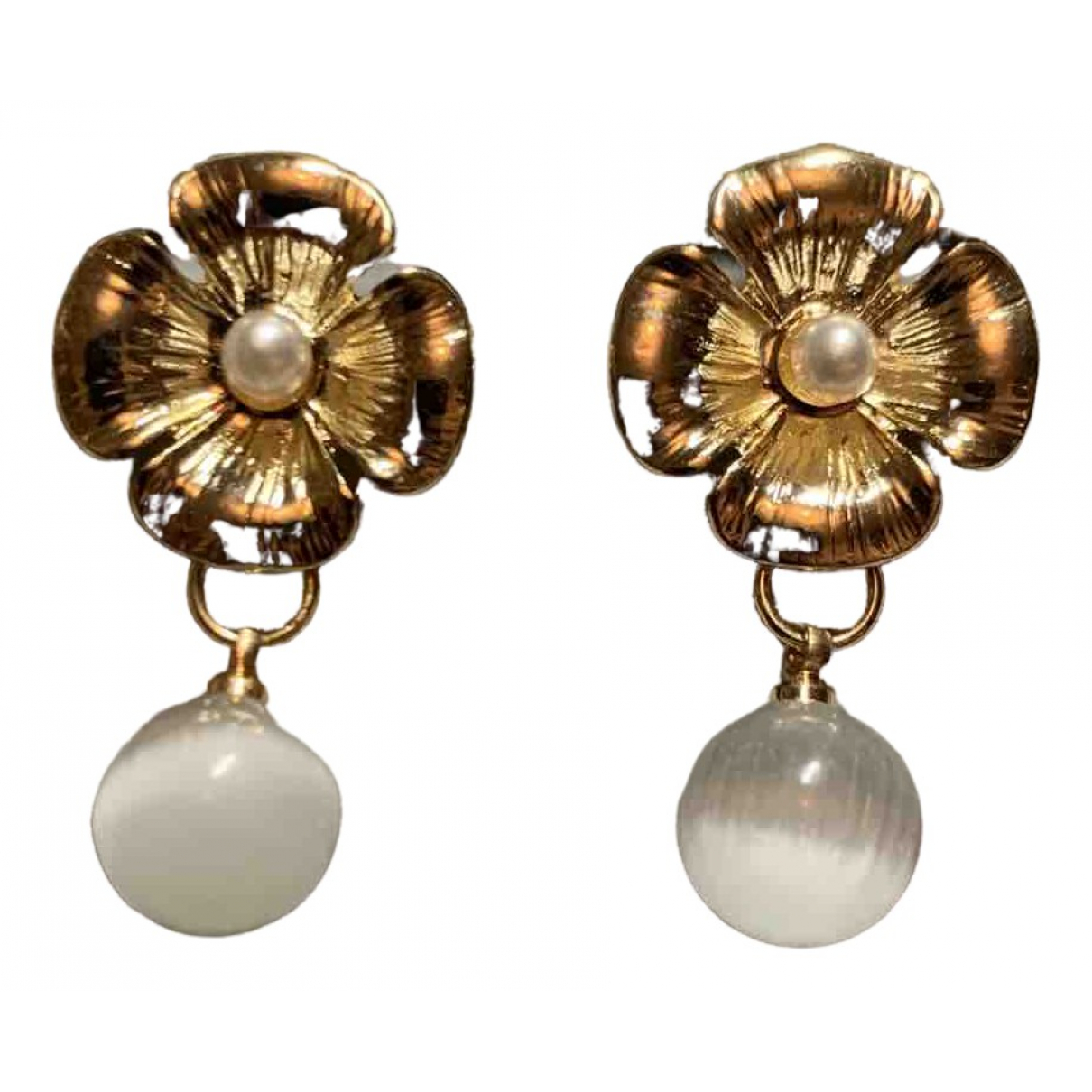 - Boucles doreilles Motifs Floraux pour femme en metal - dore
