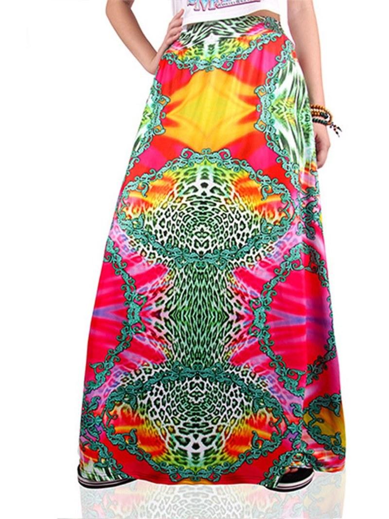 Ericdress Print Floral A-Line Women's Skirt