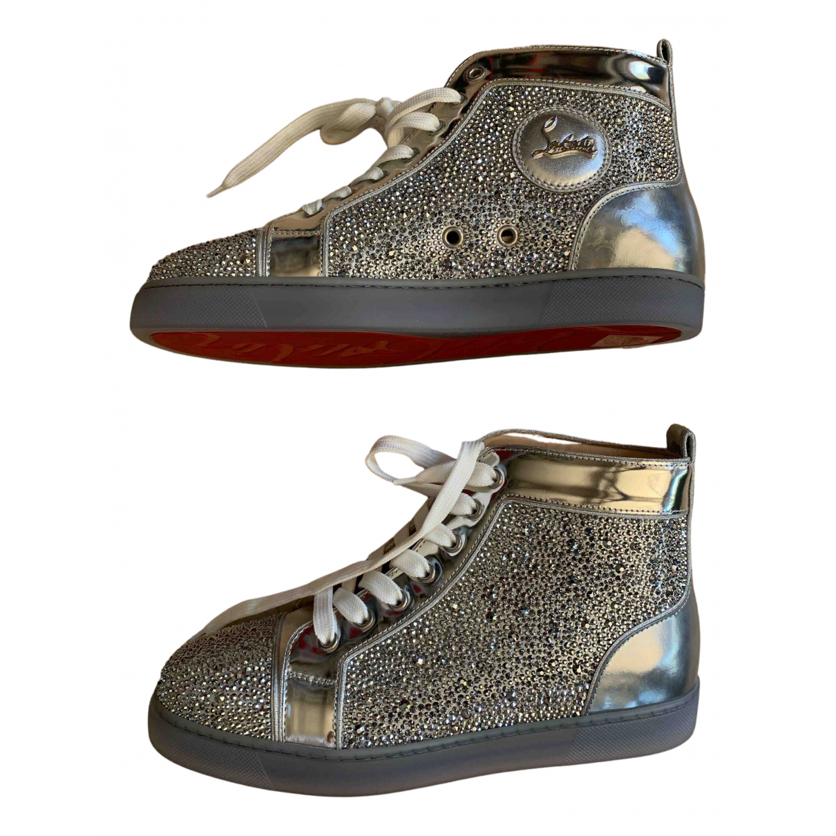 Christian Louboutin N Silver Leather Trainers for Women 38.5 EU