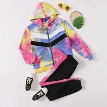 Sweatshirt mit Batik, Reissverschlussleiste und Kapuze & Jogginghose Set