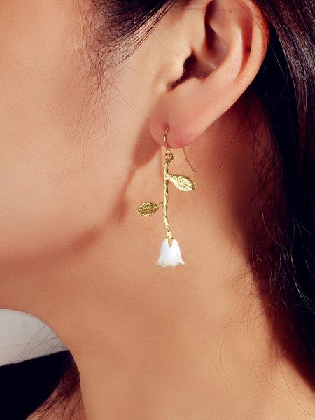 Milanoo Earrings White Flowers Zinc Alloy Pierced Women Jewelry Earrings
