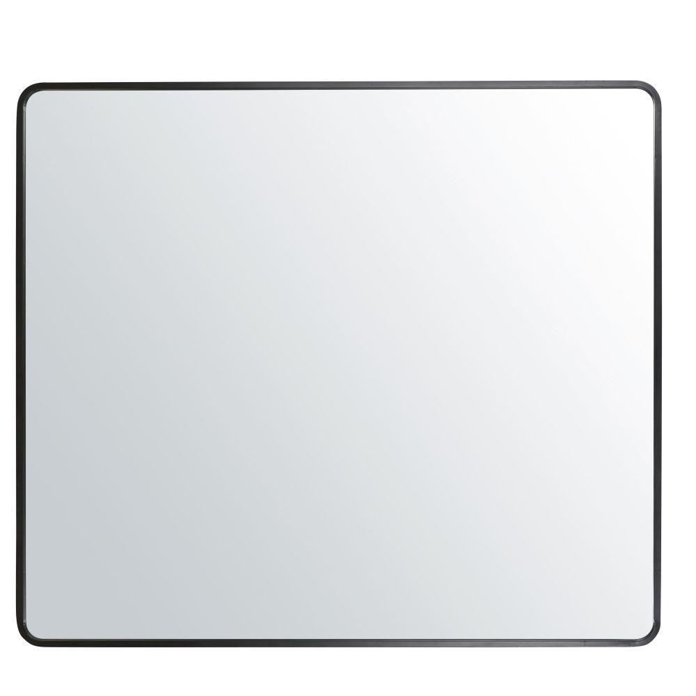 Spiegel mit abgerundeten Kanten aus Metall, schwarz 182x160