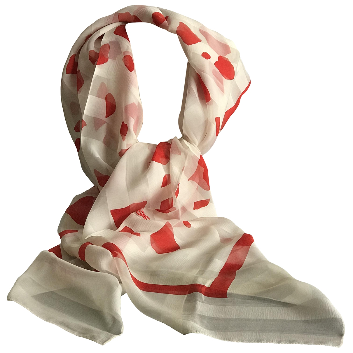 Yves Saint Laurent - Foulard   pour femme en soie - blanc