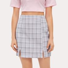 Plaid Split Hem Skirt