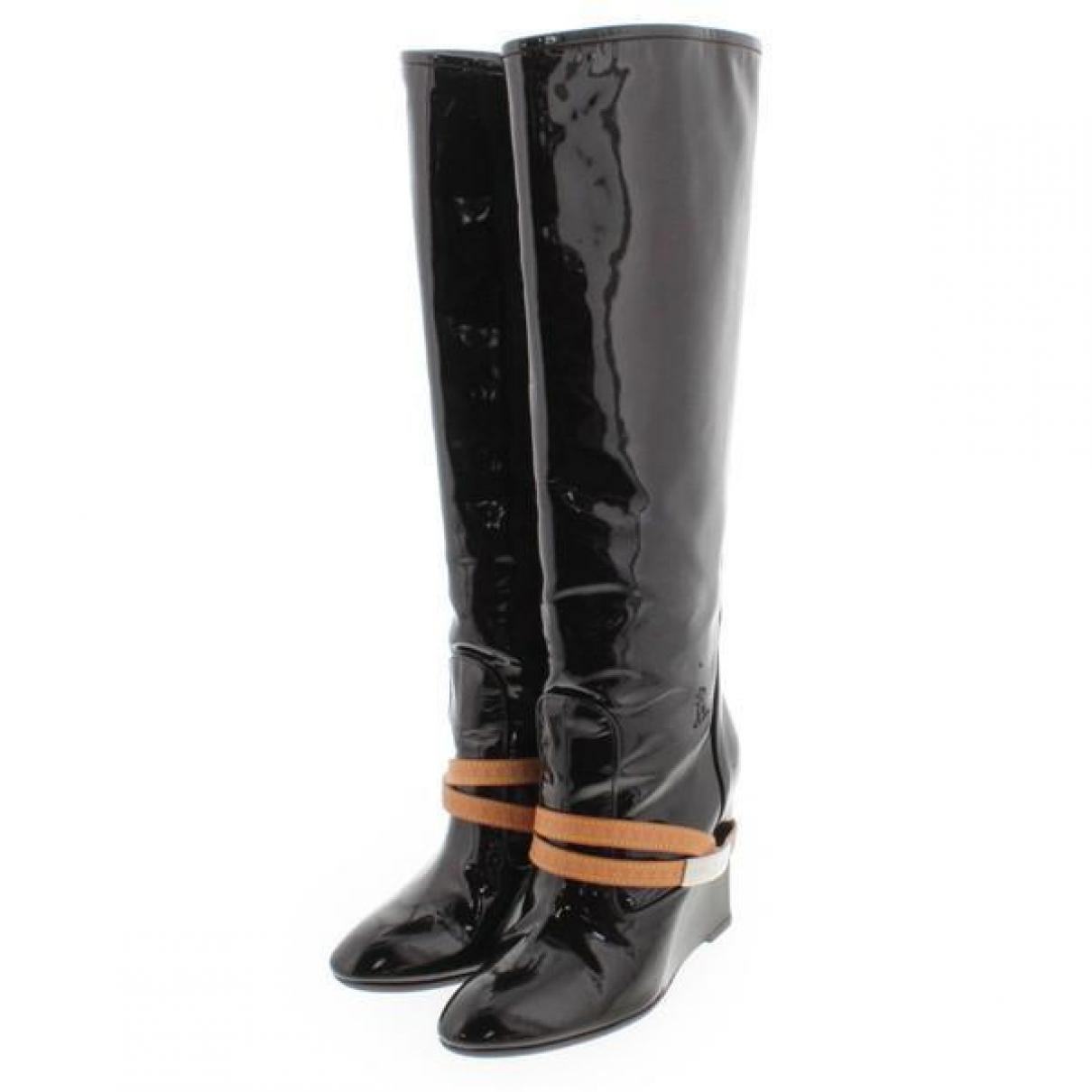 Louis Vuitton - Bottes   pour femme en cuir verni - marron