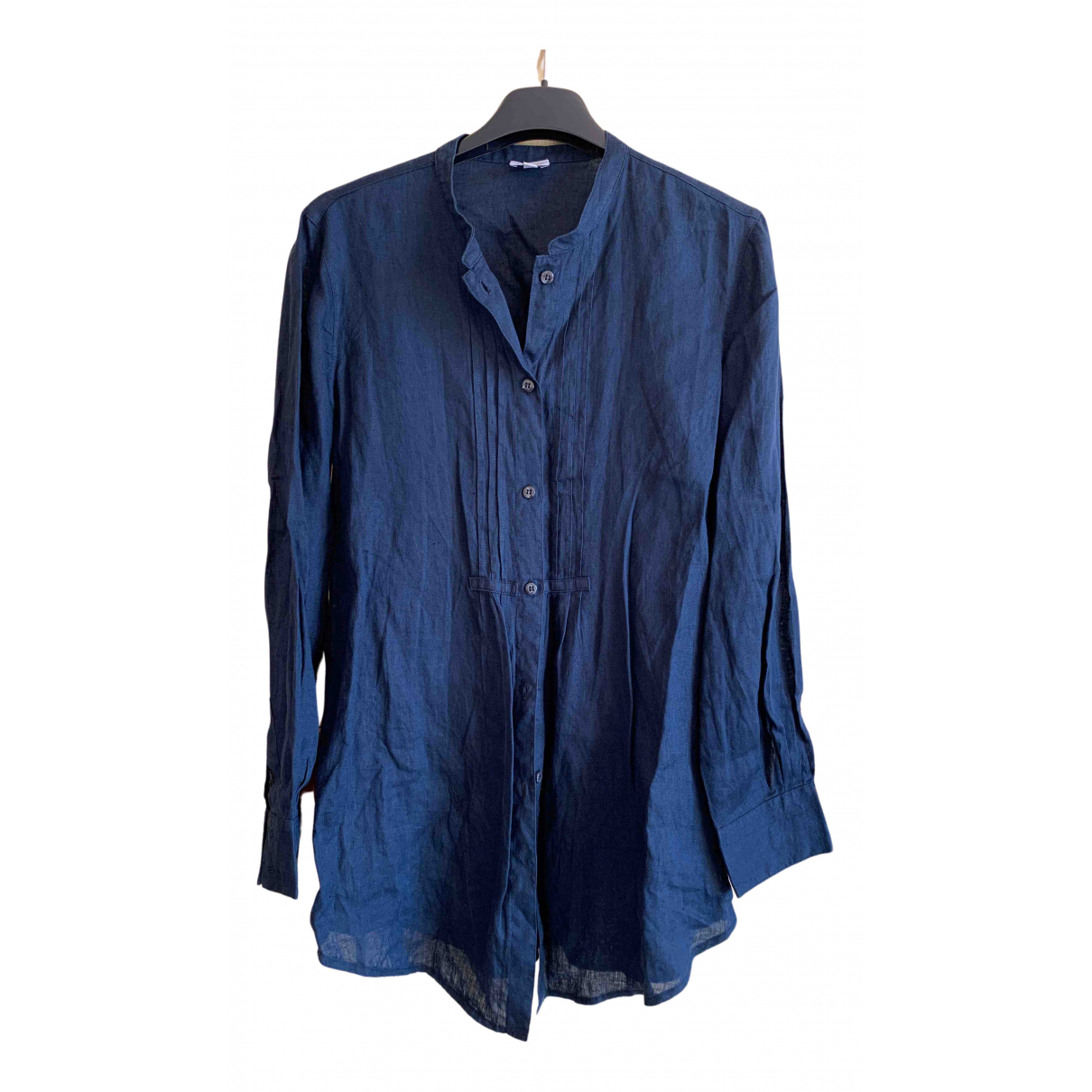 Armani Collezioni - Pull   pour femme en lin - bleu