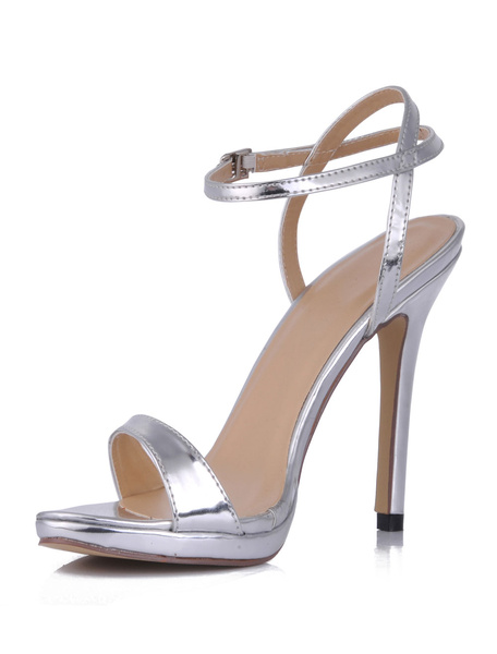 Milanoo High Heel Sandals Womens Silver Open Toe Slingback Stiletto Heels Sandals