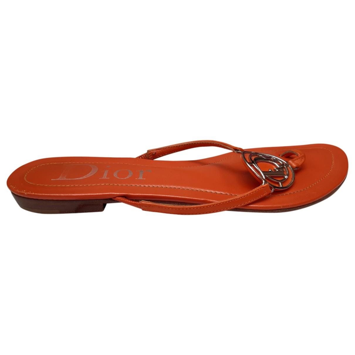Dior - Sandales   pour femme en cuir - orange