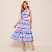 Cut Out Tie Back Split Hem Tie Dye Halter Dress