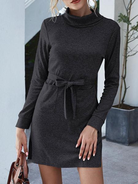 Milanoo Women Shift Dresses High Collar Long Sleeve Lace Up Short Dress