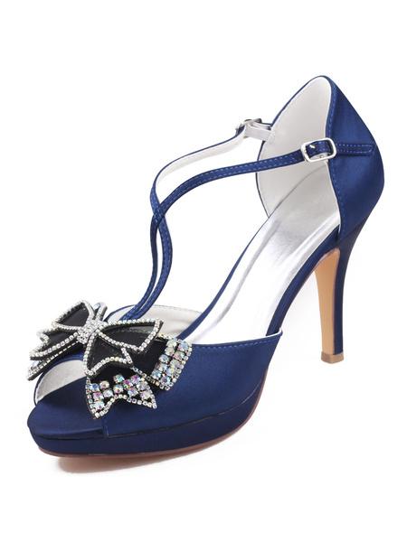 Milanoo Zapatos de noche para mujer Sandalias de tacon alto Zapatos de fiesta peep toe con lazos