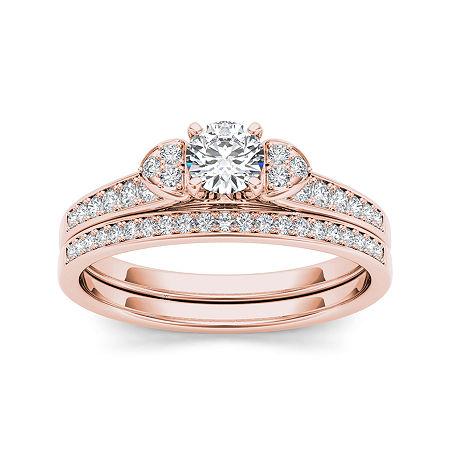 1/2 CT. T.W. Diamond 10K Rose Gold Bridal Set Ring, 7 , No Color Family