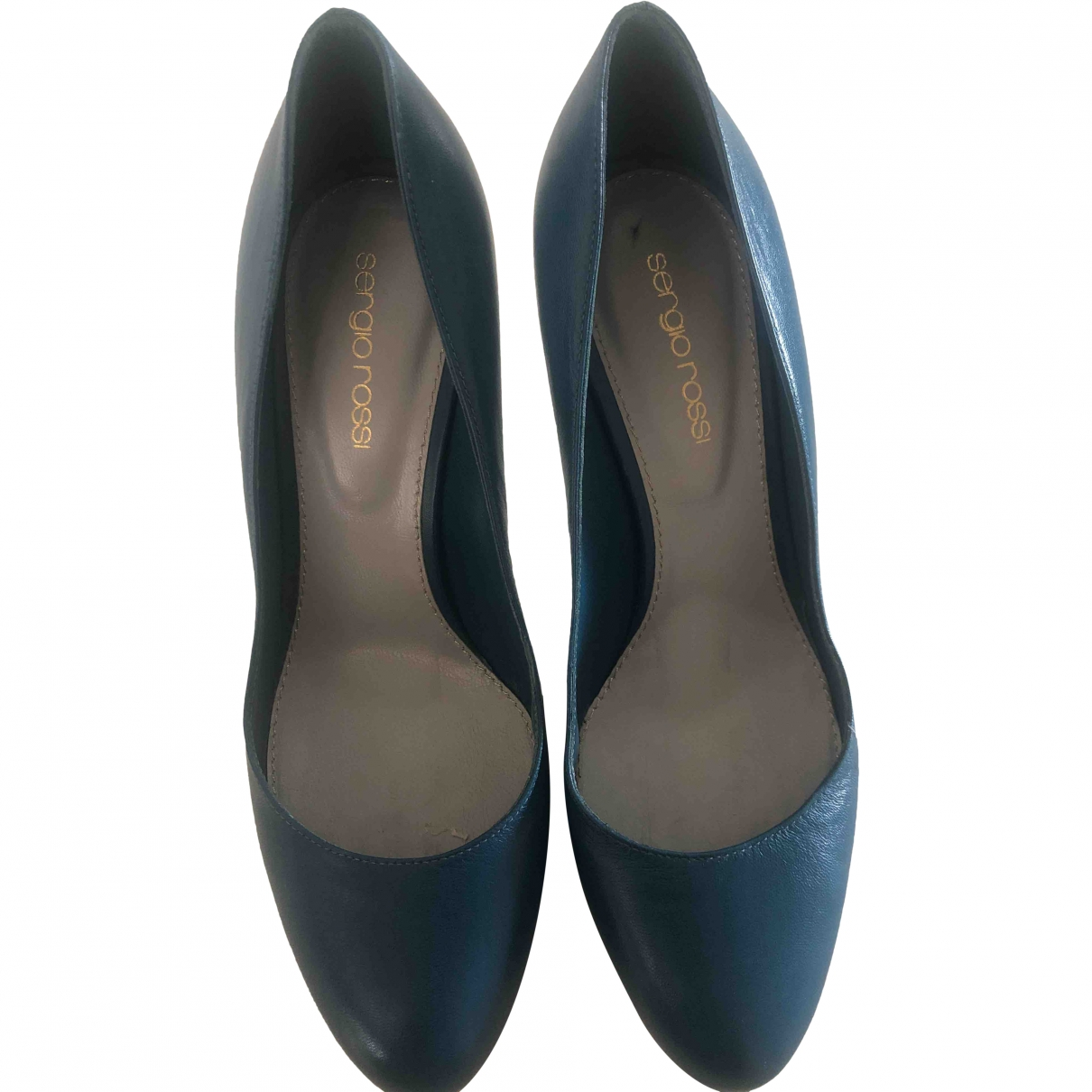 Sergio Rossi \N Blue Leather Heels for Women 37.5 EU