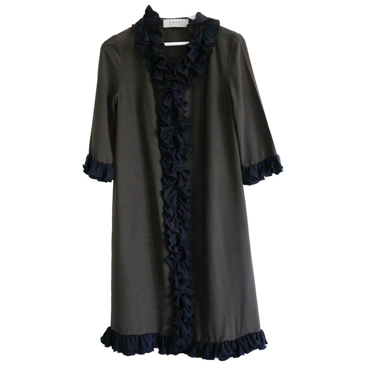 Marni \N Kleid in  Khaki Seide
