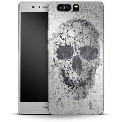 Huawei P9 Silikon Handyhuelle - Doodle Skull von Ali Gulec