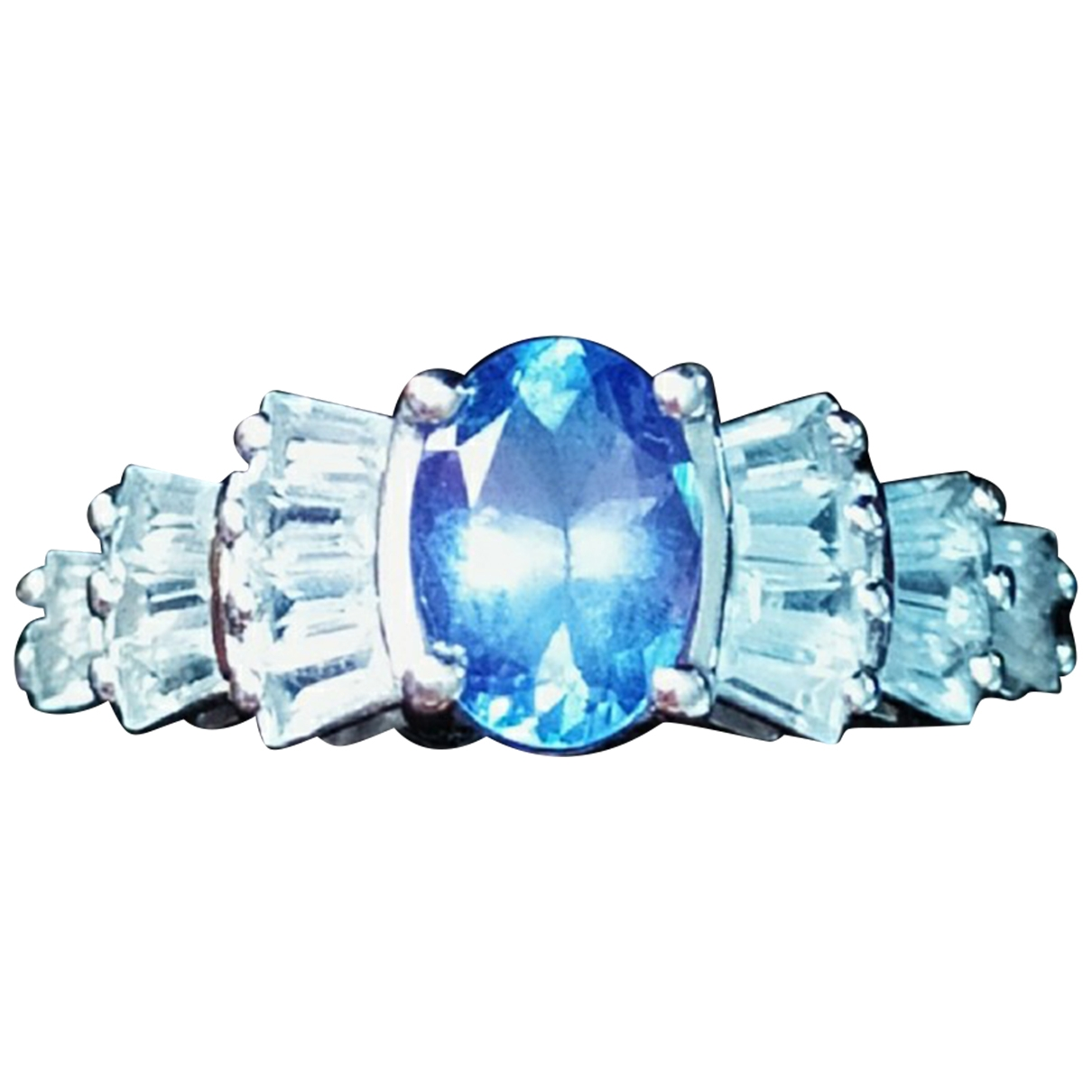 Non Signé / Unsigned \N Blue Silver ring for Women \N
