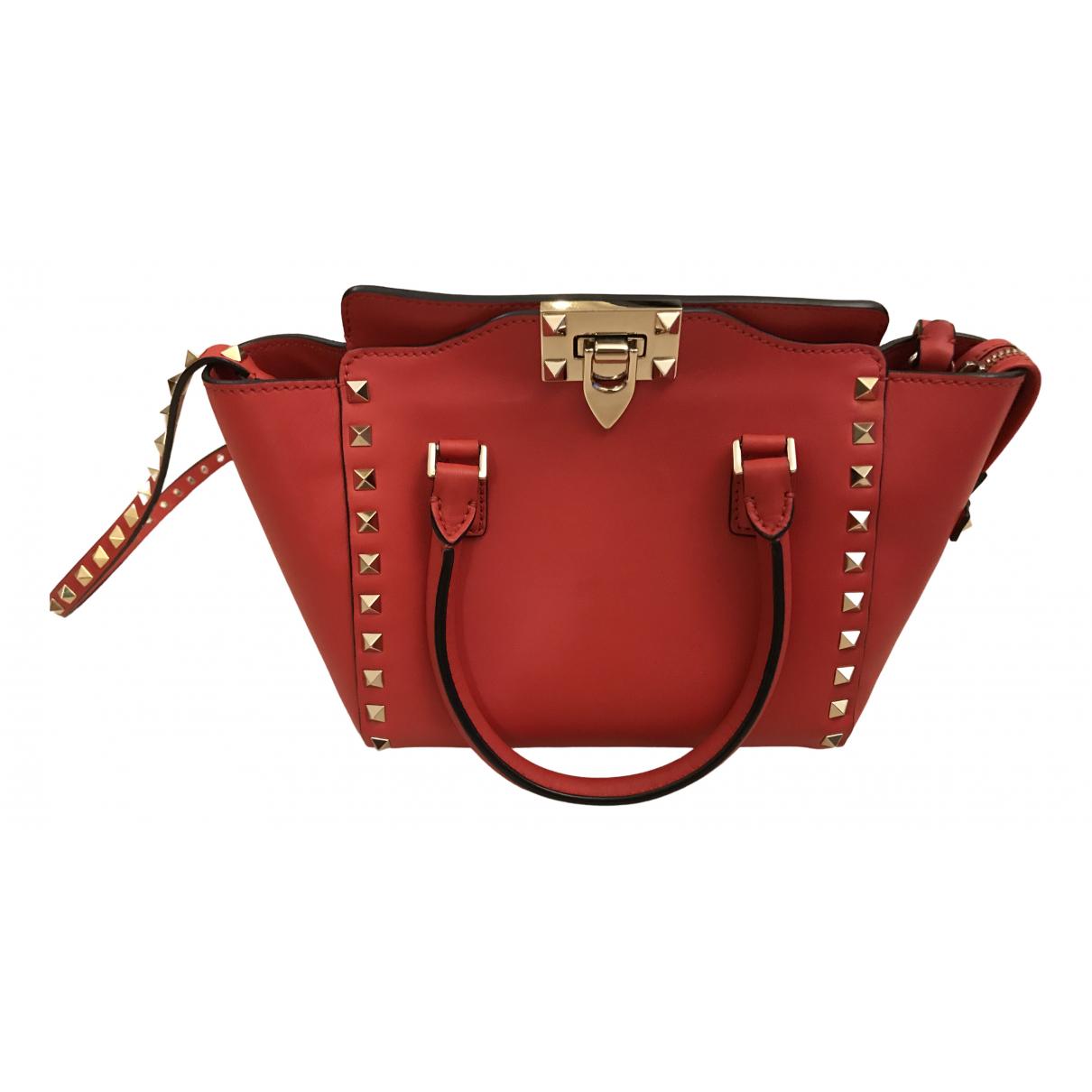 Valentino Garavani - Sac a main Rockstud pour femme en cuir - rouge