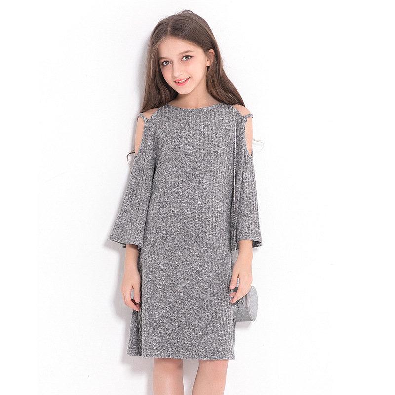 Solid Color Girls Kids Off Shoulder Casual Dresses For 6Y-15Y