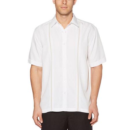 Cubavera Mens Short Sleeve Panel Button-Down Shirt, Small , White
