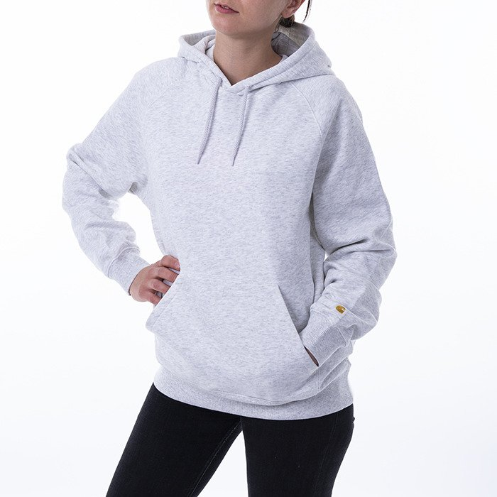 Carhartt WIP W Hooded Chase Sweatshirt I027481 ASH HEATHER/GOLD