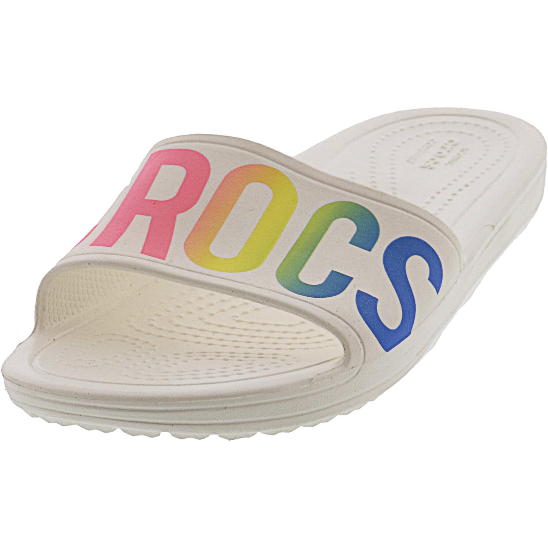 Crocs Women's Sloane Logo Mania Slide White Sandal - 4M