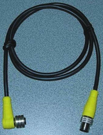 Brad Right Angle M12 to Straight M12 Cable assembly, 3 Core 2m Cable