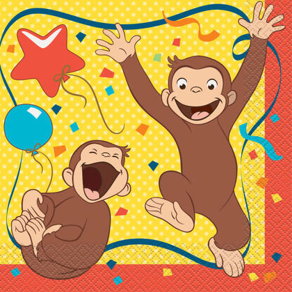 Curious George Luncheon Napkins, 16ct For Birthday Party